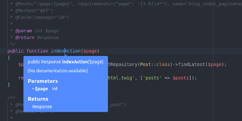 Atom PHP Integrator tooltips
